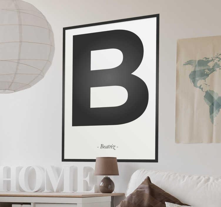 Autocolante decorativo letra B personalizável