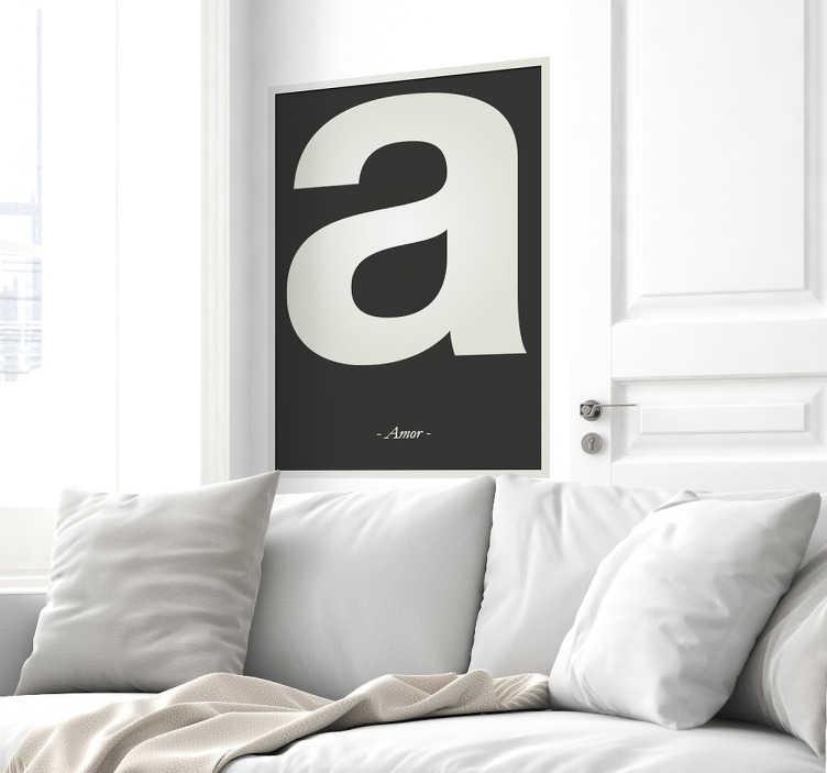 TenVinilo. Carteles adhesivos personalizables letra. Vinilos personalizados recreando un póster de fondo negro y marco en gris, dentro una letra en tamaño grande y en pequeño una palabra.