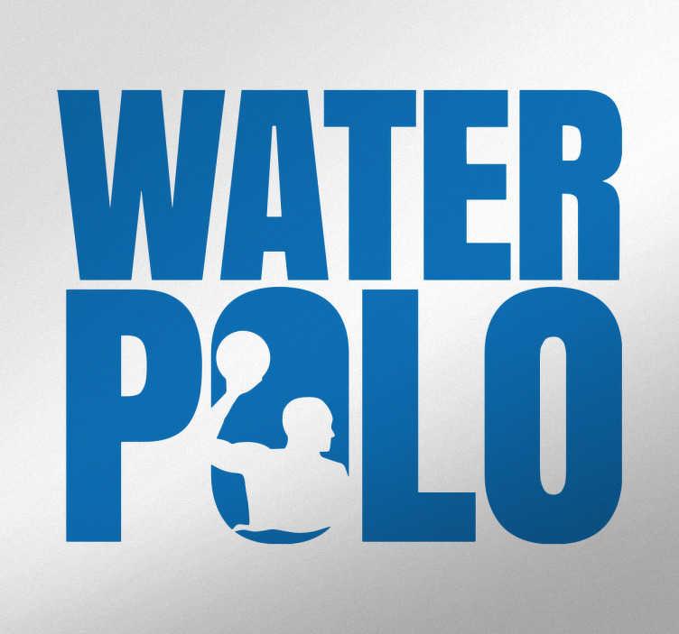 TenStickers. Sticker sport waterpolo. Joueurs ou fans de Water Polo, décorez votre chambre de votre passion avec ce sticker du mot Water Polo avec une silhouette d'un joueur.