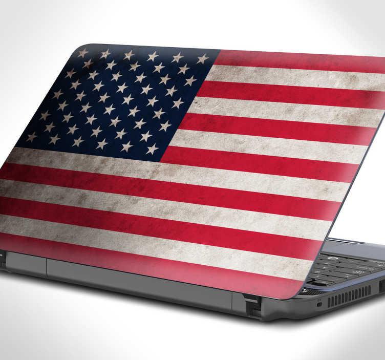 TenVinilo. Skin laptop bandera USA. Vinilos para personalizar tu portátil con la bandera de Estados Unidos de América con un estilo vintage y desgastado.