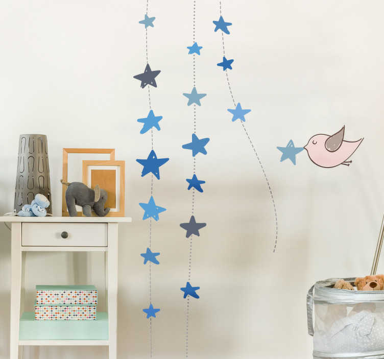 TenStickers. Hanging Stars Wall Sticker. This wall sticker has a decorative design of blue stars, allowing you to show off a beautiful starry sky on a wall or ceiling in your home.