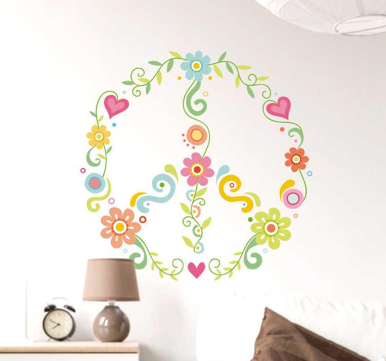 TenStickers. Wandtattoo florales Peacezeichen. Schönes Wandtattoo mit einem floralem Peacezeichen. Bringt ein wenig Farbe und Frieden in Ihr Wohnzimmer.