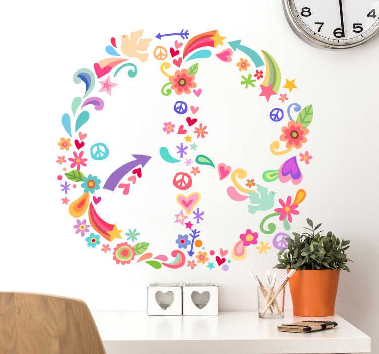 TENSTICKERS. ヒッピーピースサイン花壁デカール. あなたは心のヒッピーですか?すべての色の花で表された平和のロゴのこの花の壁のステッカーで誇りを持ってそれを示してください。色を追加してください!