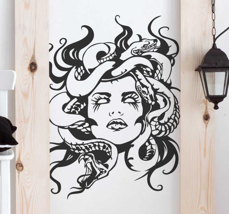 TenVinilo. Vinilo decorativo retrato gorgona. Vinilos murales con el dibujo de un ser mitológico clásico: Medusa que se representa con figura de mujer y cabellera de serpientes.
