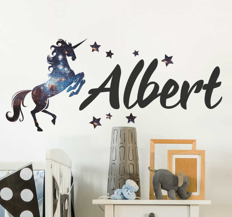 TenStickers. Personalised Cosmos Unicorn Wall Sticker. Personalised unicorn wall sticker with cosmos space decor surrounded by stars, from our collection of fairy tale stickers. This stunning custom wall sticker allows you to write anyone's name in a stylish font and place it next a magical unicorn to personalise any room in the house.