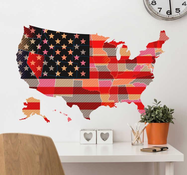 TenStickers. Muursticker USA kaart. Een leuke muursticker met de afbeelding van het land van de United states of America in de kleuren van de Amerikaanse vlag!