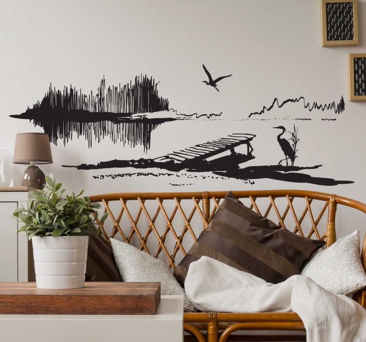 TenStickers. Adesivo salotto paesaggio airone. Spettacolare adesivo decorativo con la rappresentazione di un stagno, un pontile e vari aironi.