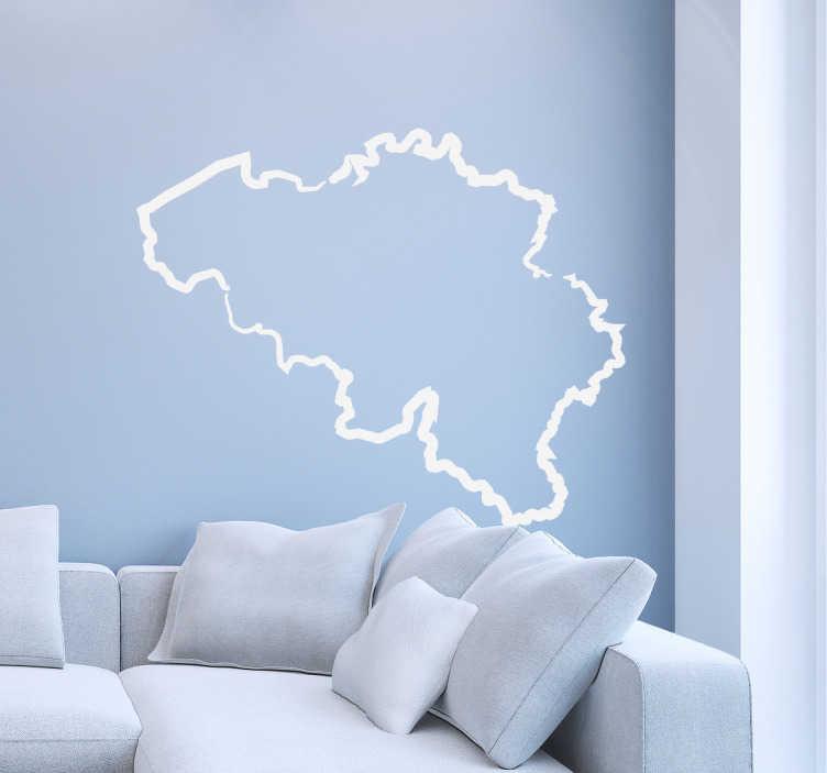 TenStickers. Muursticker België land. Indrukwekkende muursticker van het Belgische landschap in de vorm van het land.
