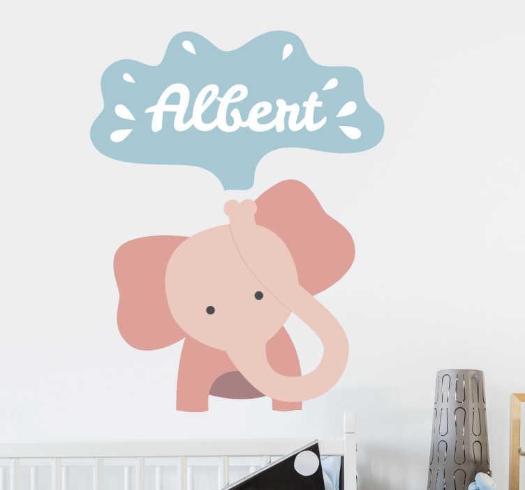 TenStickers. Naklejka personalizowana - Słoń. Personalizowana naklejka na ścianę dla dzieci przedstawiajaca słonia wypluwającego wodę.