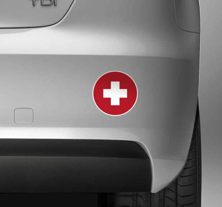 TenStickers. Autoaufkleber Schweizer Flagge rund. Zeigen Sie mit diesem originellen kreisförmigen Autoaufkleber der Schweizer Flagge wofür Ihr Herz schlägt. Mit diesem schönen und runden AutoSticker können Sie Ihr Auto oder das Motorrad verschönern und individualisieren.
