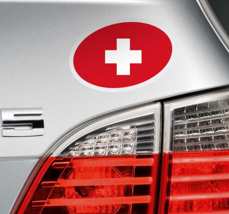 TenStickers. Sticker voiture drapeau Suisse ovale. Un sticker pour véhicule représentant le drapeau Suisse au sein d'un ovale. Si vous êtes fier d'être Suisse et que vous souhaitez l'indiquer aux autres conducteurs, alors ce sticker est fait pour vous! Un sticker simple mais qui saura faire la différence sur votre voiture ou même votre camion.