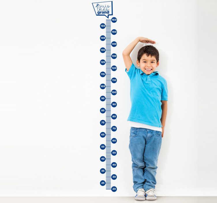 TenStickers. Sticker mètre je suis très grand. Sticker d'un mètre au design original parfait pour mesurer votre enfant et suivre centimètre par centimètre sa taille de manière ludique et amusante.