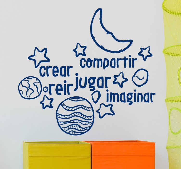 TenVinilo. Vinilo decorativo crear reír jugar. Vinilos infantiles con un diseño original que encantará a los más pequeños de la casa con elementos celestes y textos motivadores.