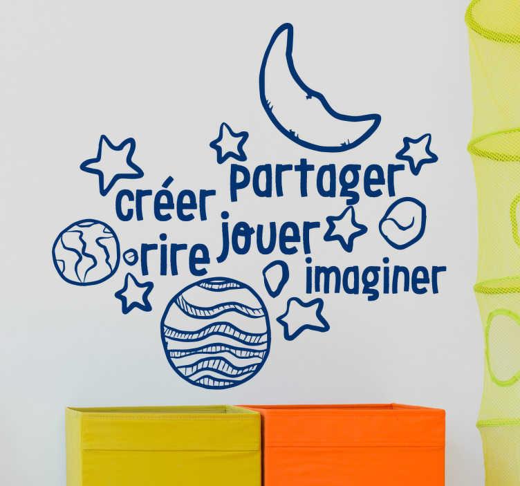 TenStickers. Sticker texte valeurs. Décorez la chambre de votre enfant aux valeurs que vous voulez lui transmettre avec ce sticker de ce texte de plusieurs mots et de dessins.