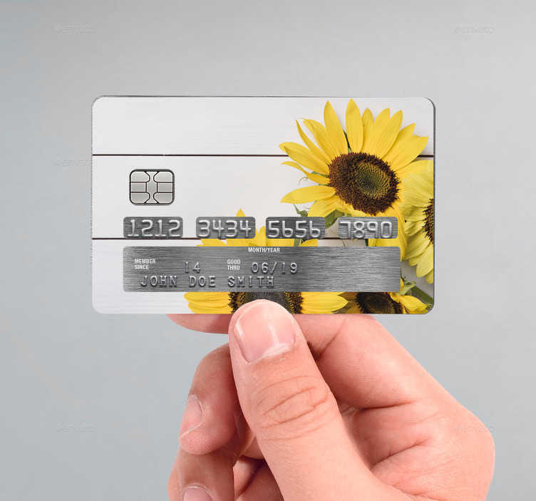 TenStickers. Karta debetowa naklejka Żółte słoneczniki. Naklejka dekoracyjna na kartę kredytową to pomysł na nieszablonową dekorację Twojej karty płatniczej. Wybierz naklejki ze słonecznikami lub inne wzory