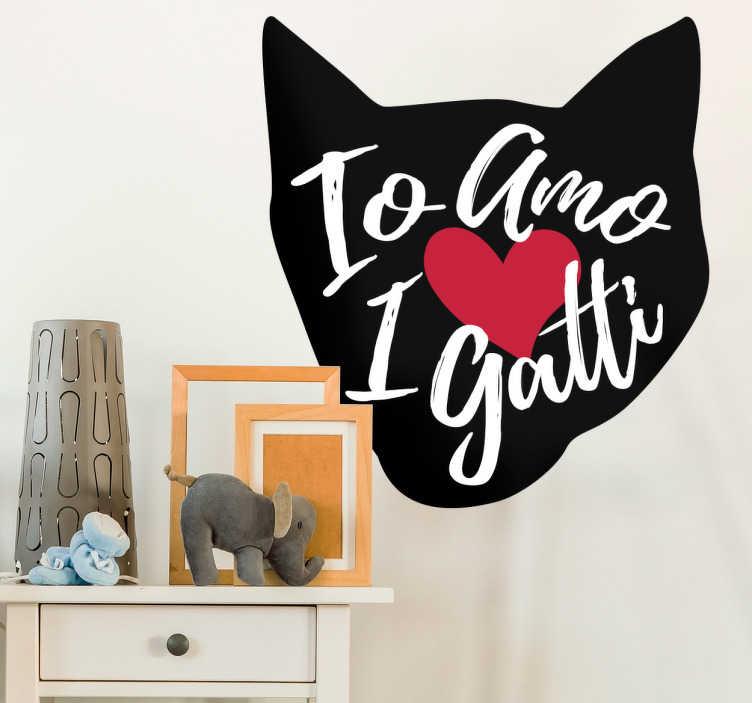 Adesivo murale amo i gatti