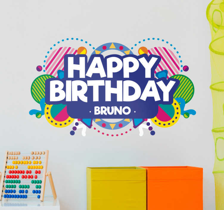 TenStickers. Naamsticker verjaardagen. Vier je verjaardag met deze ¨Happy birthday¨ en naam sticker. Een vrolijke muursticker met allemaal vrolijke en kleurrijke hartjes en confetti!