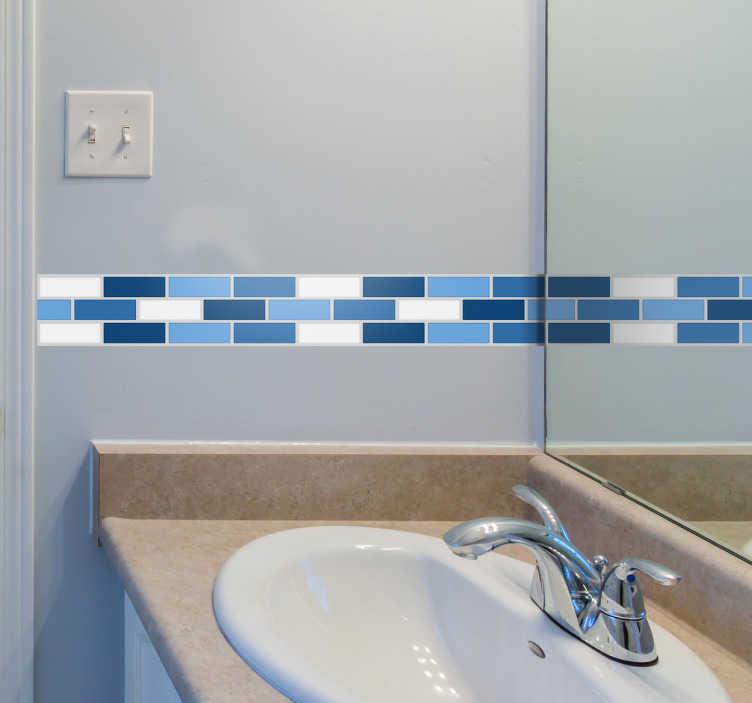 TenVinilo. Vinilo cenefa adhesiva azulada. Vinilos azulejos, estilo mosaico, ideales para la decoración de lavabos, con teselas distintos tonos de azul.