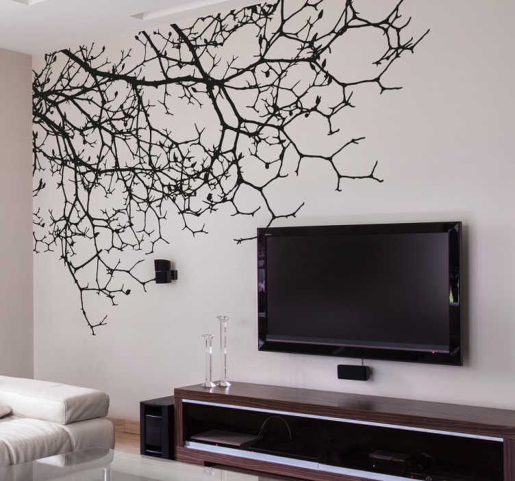 TenStickers. Wandtattoo hängende Zweige. Wandtattoo hängende Zweige speziell für das Wohnzimmer und Schlafzimmer. Aufkleber mit der Zeichnung einiger Baumzweige, die designt wurden, um in der oberen Ecke Ihres Zimmers angebracht zu werden. Schaffen Sie mit unserem Zweig Aufkleber eine naturverbundene Atmosphäre.