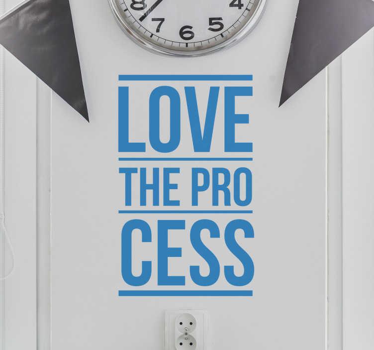 TenStickers. Sticker phrase Love The Process. Sticker de la phrase en anglais Love The Process signifiant aime le processus. Il peut être idéal pour décorer les murs de votre entreprise.
