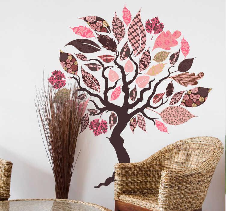 TenVinilo. Vinilo para salón árbol patchwork. Vinilos pared elegantes y coloridos con la silueta de un árbol con hojas de distintas texturas y tonos rosados.