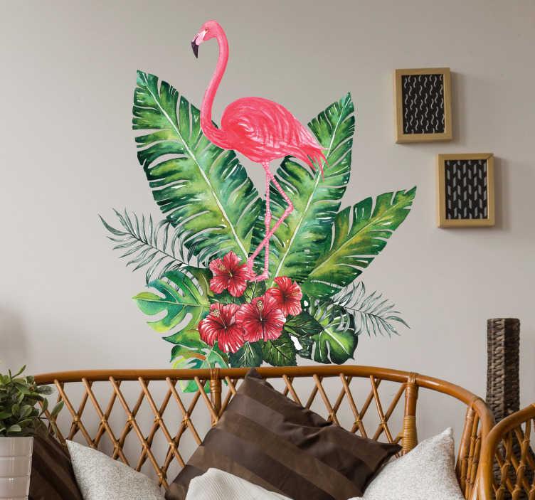 TenStickers. Wandtattoo tropischer Flamingo. farbenfrohes Wandtattoo mit einem Flamingo der sich aus tropischen Blättern erhebt