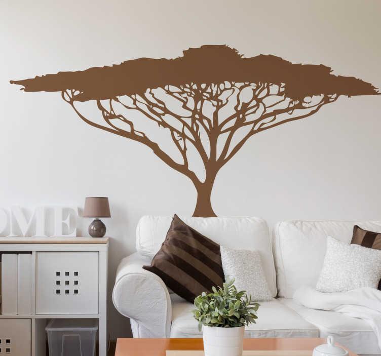 TenStickers. Naklejka na ścianę afrykańskie drzewo. Naklejka na ścianę z ilustracją przedstawiającą drzewo afrykańskie w jednym kolorze. Naklejka ścienna o wysokiej jakości idealnie nadająca się do dekoracji salonu, pokoju dziecka czy innego pomieszczenia w domu.