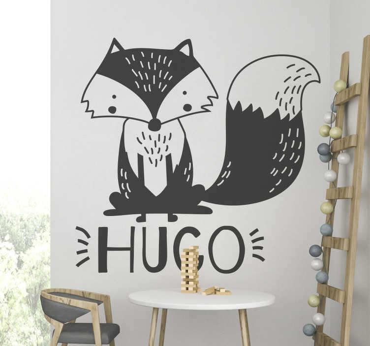 TenStickers. Naamsticker Vosje. Deze leuke muursticker met een vos die rond zit, kan uw personaliseren met de naam of tekst die u wilt!