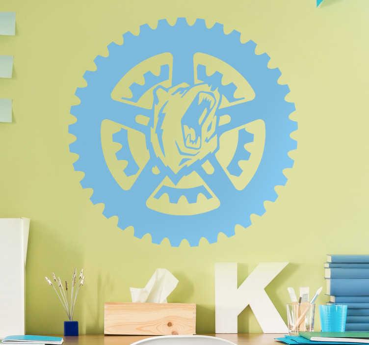 TenStickers. Sticker ours cri roue. Sticker au design original de la tête d'un ours émettant un cri et encerclé d'une roue. Idéal pour décorer votre chambre, salon.