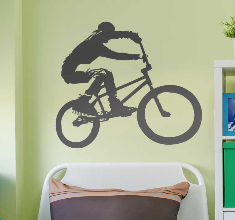 TenStickers. BMX Biker Decorative Wall Sticker. A great sticker showing a BMX biker in full flow! Perfect for all those BMX bikers out there! Free delivery over £45. Extremely long-lasting material.