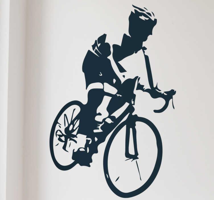 TenStickers. Muursticker wielrenner. Deze muursticker geeft een sportief beeld van een wielrenner in actie. Verkrijgbaar in verschillende kleuren en maten. 10% korting bij inschrijving.