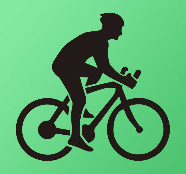 TenStickers. Muursticker wielrenners. Muursticker met de een wielrenner met elke regel in een andere font en maat, hierboven is een silhouet van een man op een fiets.