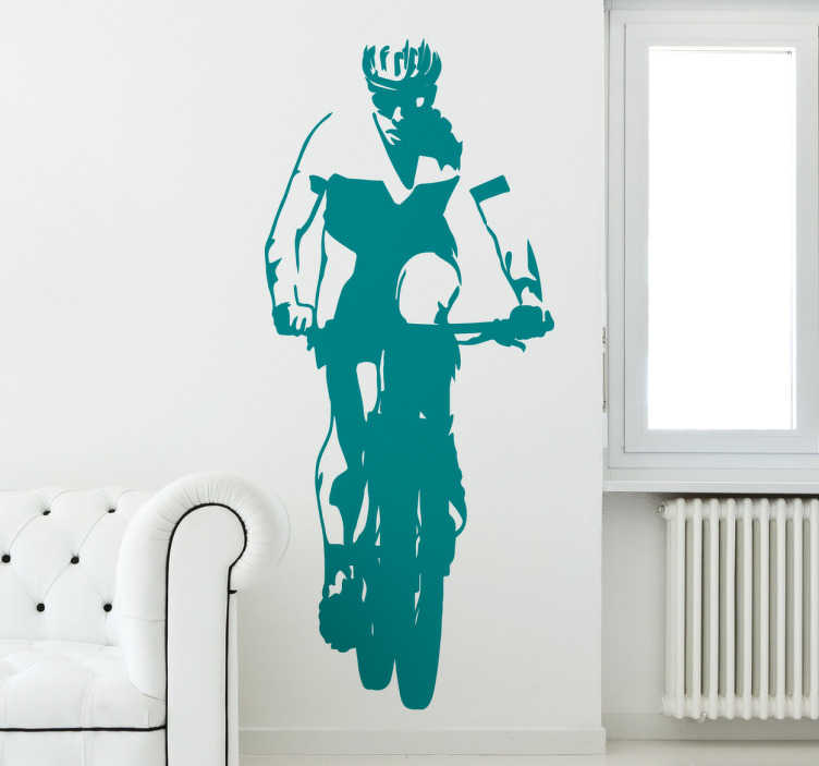 TenStickers. Sticker ciclista mountain bike in rotta. Sticker ciclista mountain bike in rotta, decora la tua casa con le tue più grandi passioni e con il tuo modo di vivere. Sticker di alta qualità.