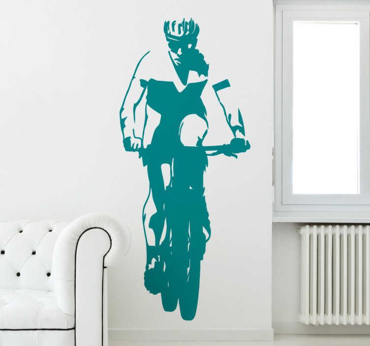 TenStickers. Autocolante decorativo ciclista. Autocolante decorativo para os fãs do ciclismo. Coloque na decoração de interiores um adesivo decorativo alusivo ao seu desporto favorito.