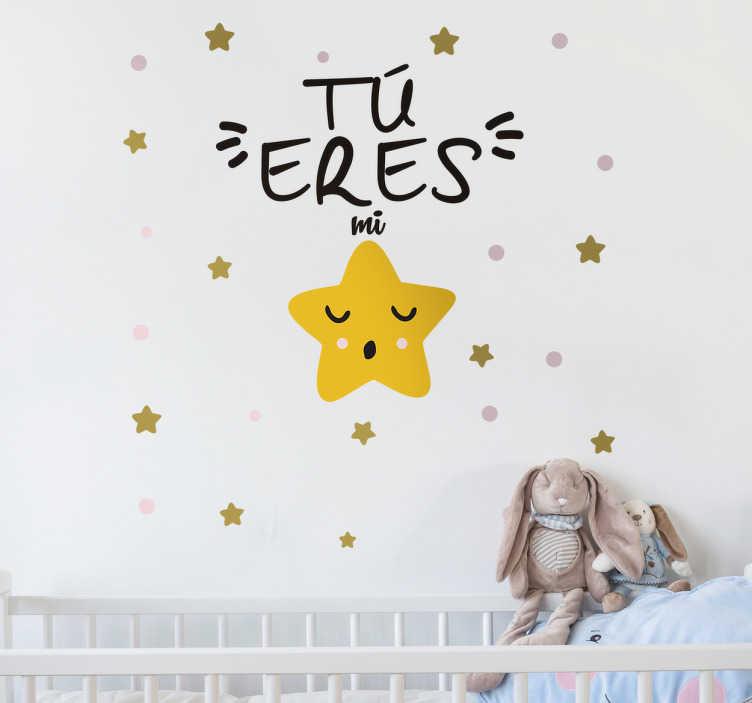 TenVinilo. Vinilo decorativo tú eres mi estrella. Vinilos para bebés con los que podrás personalizar la decoración de la estancia de los pequeños de casa.