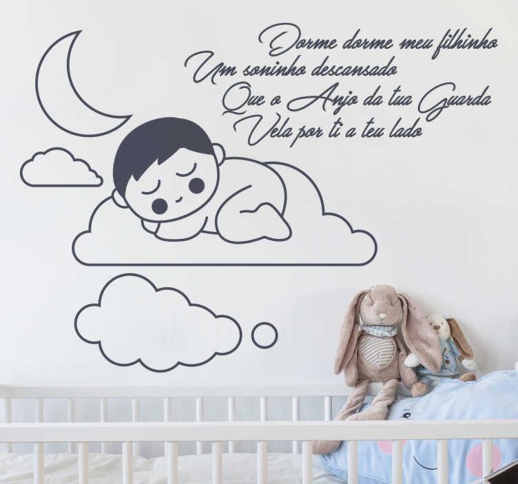 TenStickers. Vinil dorme meu filhinho. Autocolante para quarto de bebe. Coloque o quarto do seu filho amoroso com este autocolante do infantil.