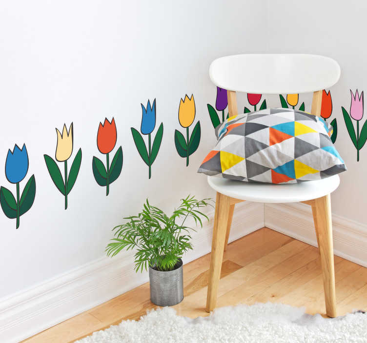 TenStickers. Muursticker tulpen. Gebruik deze prachtige behangrand sticker van tulpen voor het opfleuren van uw woning. Afmetingen aanpasbaar. Snelle klantenservice.