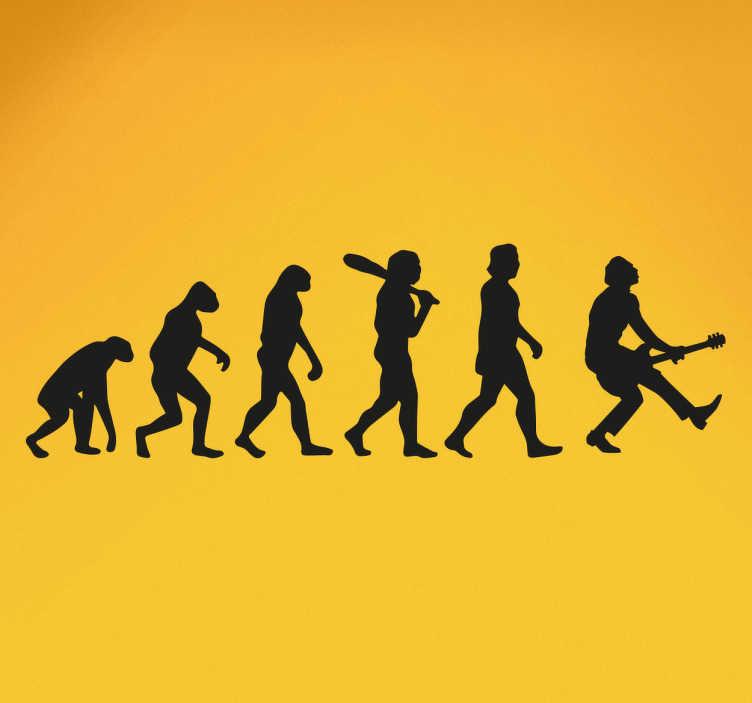 TenStickers. 인간의 진화 바위 벽 스티커. 록큰롤 벽 스티커 - 원숭이에서 록 스타까지 우리의 진화를 보여주는 창조적 인 음악 스티커!