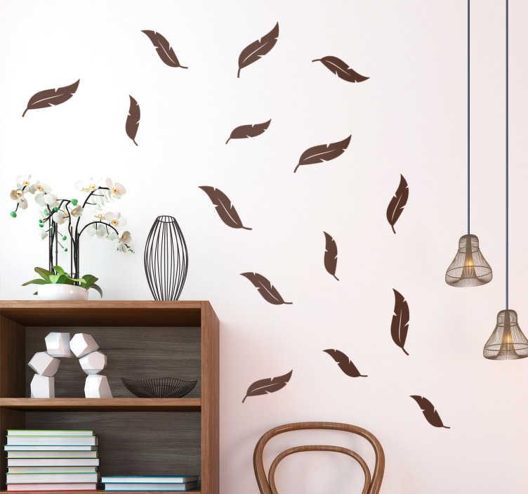 TenVinilo. Lámina de vinilos plumas. Vinilo decorativo con una selección de plumas, escoge el color que desees y coloca cada uno de los elementos como te convenga.