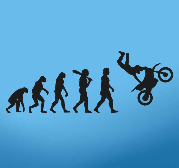 Tenstickers. Evoluutio ihminen & moottoripyörä sisustustarra. Mahtava sisustustarra, joka kuvaa ihmisen evoluution kehitystä moottoripyöräilijäksi. Sisustustarra sopii kotiin ja yrityksiin.