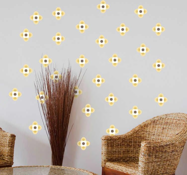 TenVinilo. Pegatinas flor geométrica. Lámina de adhesivos con 64 flores de color, ideales para decorar cualquier estancia de tu casa de una forma moderna y fresca.