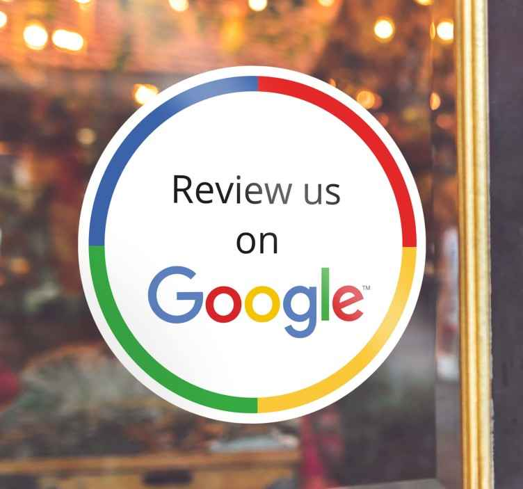 TenStickers. Raamsticker voor winkels Google Review. Een sticker voor aan uw winkelraam om klanten aan te sporen om u een Google review te geven. Onmisbaar om uw naamsbekendheid te vergroten.