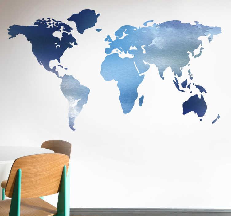 Muursticker wereldkaart waterverf blauwtinten