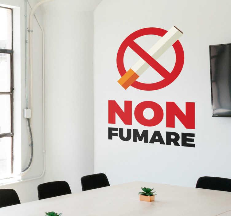"""TenStickers. Adesivo non fumare. Adesivo murale non fumare, raffigurante la scritta """"non fumare"""" e il simbolo di divieto con la sigaretta, cerca di limitare uno dei vizi più diffusi."""