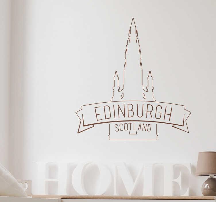 TenStickers. Adesivo decorativo cattedrale Edimburgo. Adesivo decorativo raffigurante la cattedrale caratteristica di Edimburgo, ottimo per coloro sono innamorati di questa città e della sua cultura