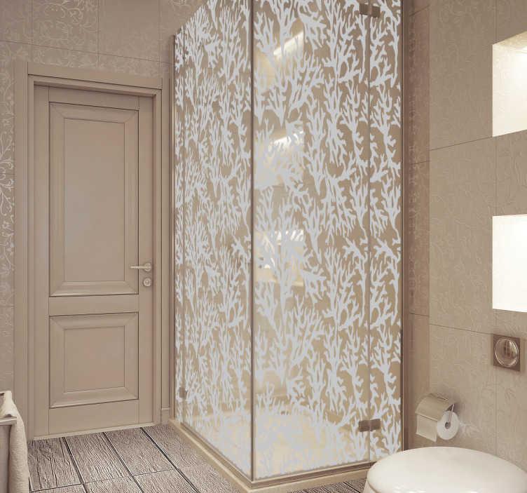 TenVinilo. Vinilo decorativo mampara corales. Vinilos mampara de baño con una elegante textura marina, ideal para preservar la intimidad en tu baño diario.