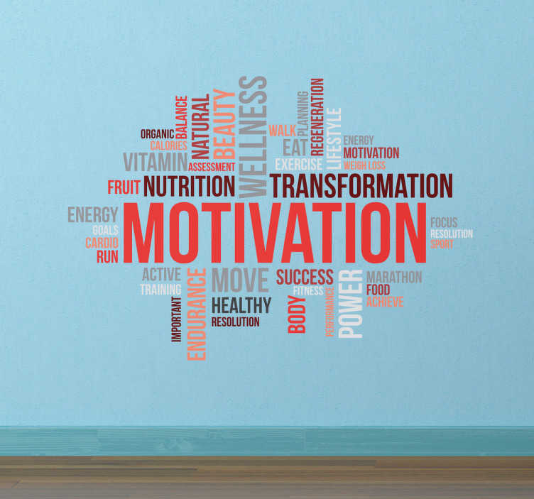TenVinilo. Vinilo conceptos motivación gimnasio. Vinilos decorativos con una nube de palabras en inglés relacionadas con el mundo del deporte, la salud y la nutrición.
