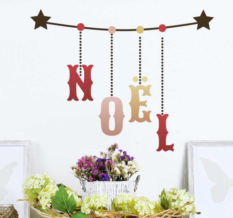 TenStickers. Autocollant noel guirlande. Sticker de la phrase « Noel » avec les lettres du mot positionnées comme les boules de Noel sur un sapin avec les guirlandes.