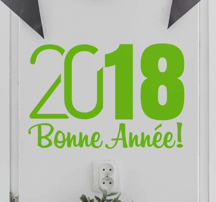 TenStickers. Sticker 2018 Bonne année. Fêtez le passage à l'année 2018 en décorant les murs de votre maison à l'ère du temps avec ce sticker original 2018 bonne année.