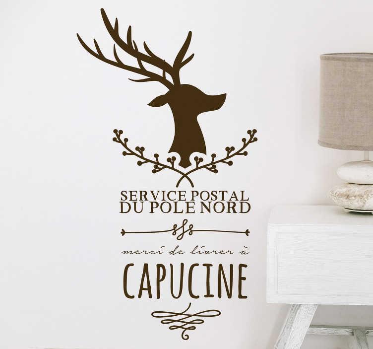 TenStickers. Sticker renne lettre. Sticker d'un renne avec le texte « merci de livrer à » est idéal à coller sur une enveloppe d'une lettre ou sur un papier cadeau de Noel.